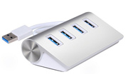 USB 3.0 Premium 4 Port Aluminum USB Hub with 11 inch Shielded Cable for iMac MacBook Air MacBook Pro..