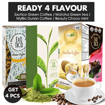 [ GET 4 PCS ] Exotico Green Coffee / Matcha Green tea /  MyBio Durian Coffee / Beauty Choco mint