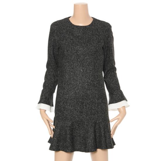 ルシャプLeShop小売配色の裾フレアワンピースLH1OP652 シフォン/レース/フリル/ 韓国ファッション