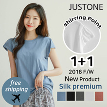 [JUSTONE😻] 1+1 Silket Shirring T-shirt / Free Shipping / Korean Fashion / 5-Color