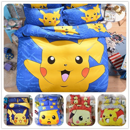Fashion Cool Cotton Kids Pokemon Pikachu Bedding Set Bed Sheet Cartoon Duvet Cover Pillowcases for G