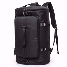 Black/ Grey Laptop Travel Unisex Backpack Cylinder Bag
