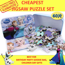 🎁🎁 60pcs jigsaw puzzle Children Day Gift metal box Disney Frozen Sophia Mickey Mouse Toy Story Cars Princess Minions Little Pony Finding memo Robocar tin tom jerry doraemon spongebob goodie bag