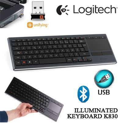 Logitech K830 Illuminated Living Room Keyboard 920 007182 Mouse Touch Pad Inbuilt Combo SG