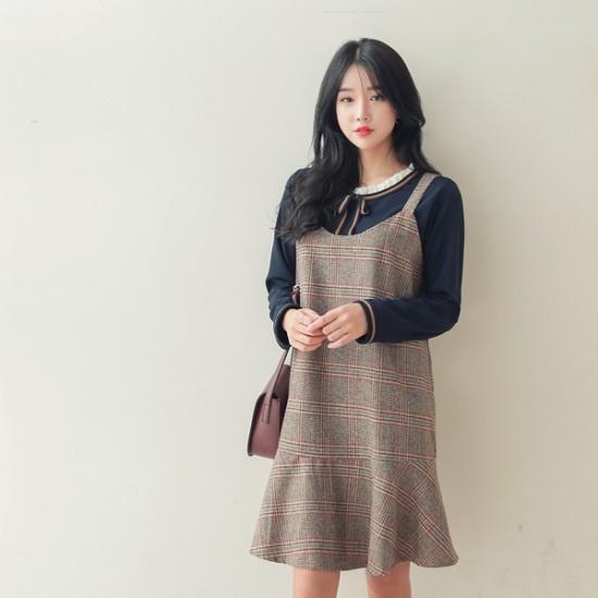ジェイ・スタイルビックサイズリオブルビュスチェワンピース 大きいサイズ/ワンピース/韓国ファッション