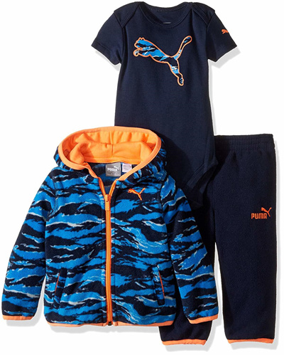 b9ce3a0006a8 PUMAPUMA Baby Boys 3pc Micro Fleece Hoodie, Bodysuit, Pant Set