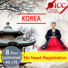◆ ICC◆【Korea Sim Card 6/8(Can extend days·B)/16 Days】❤No Need Register❤ Unlimited data +Call*(C)