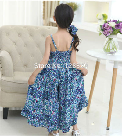 7cf33222b3c Summer Dresses For Girls Cotton Children Clothing Print Floral Beach Girl  Dress Fashion Bohemian Kid