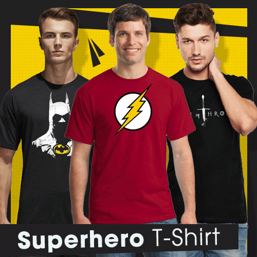 Get 2 Pcs Fantasia T-Shirt Pria Karakter Superhero Deals for only Rp79.000 instead of Rp79.000