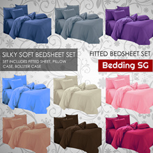 [SG Seller] Fitted Bedsheet Set - 9 Colours - Includes Fitted Sheet Pillow Case Bolster Case