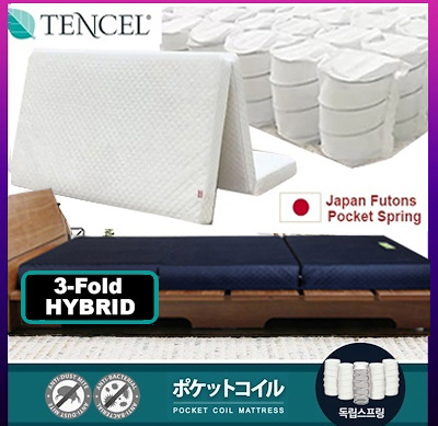 SALE ⏰ UP:$169【500 Pocketed Coil Spring】 3-Fold Tencel Mattress ✪ 13CM ✪ 15kg Hybrid Foa