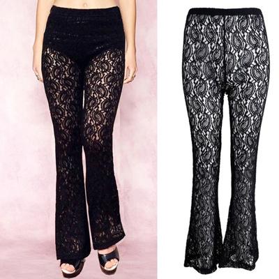 a1591a134b884 Boho Women Crochet Lace Flare Leg Pants Long Trousers Yoga Dance Beach  Summer