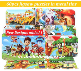 60pcs puzzles in metal box tin puzzles wooden jigsaw puzzle learning toy birthday party goodies bags