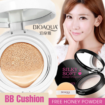 Get 2 Pcs_BIOAQUA BRIGHTENING LIQUID FOUNDATION BB CREAM AIR CUSHION and SILKY SOFT HONEY POWDER Deals for only Rp119.000 instead of Rp119.000