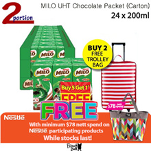 1 Carton 24x200ml MILO® UHT Chocolate Malt Packet Drink  [Buy 2 Carton Get Free Trolley]