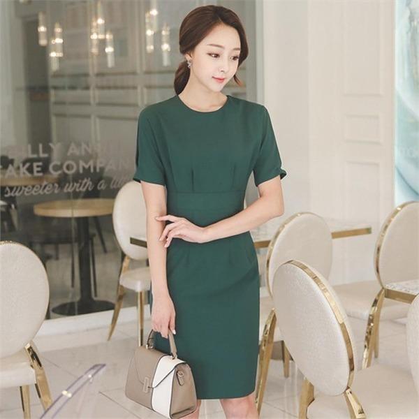 DRI362スリムラウンドネック半袖ワンピースnew 無地ワンピース/ワンピース/韓国ファッション