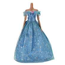 Clothing Gown For Barbie Doll Blue Color Handmake wedding Dress For Doll Accessories