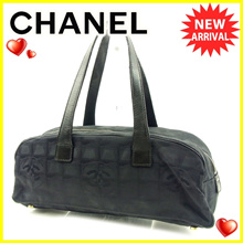 Chanel CHANEL Handbag Mini Boston Bag Women's Men Available New Travel Line Leather Vintage Popular 【Used】 T4601.