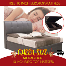 Queen Size Storage Bed WITH 10 Inch Eurotop SPRING MATTRESS Options| Exclusive Qoo10 Promotion