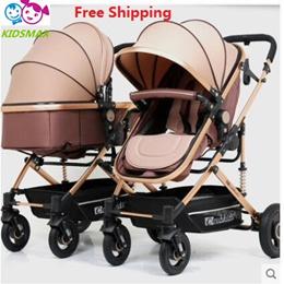 Twins Baby Stroller Luxury Fashionable Pram Aluminum Frame High-Landscape Baby Carriage BAC417