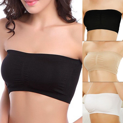 462ea90962108 Fashion Womens Strapless Bra Bandeau Tube Top Removable Pads Seamless Crop  Colors New