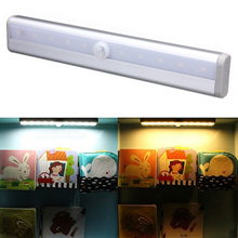 Cabinet Wardrobe Drawer stairway PIR Motion Sensor 10 LED Strip Light Autoswitch