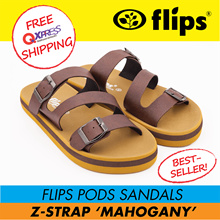★Authentic [Flips™]★MAHOGANY Z-Strap Flips Pods Sandals★Unisex Sandal/Contoured Footbed/Comfort