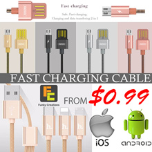 [Funky Creations] BASEUS REMAX HOCO Fast Charging cable iPhone Micro Android Samsung Type C USB 3.0