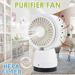Protable Fan + Air Purifier USB Desk Fan HEPA Filter Air Circulator Fresher for Car Office Home