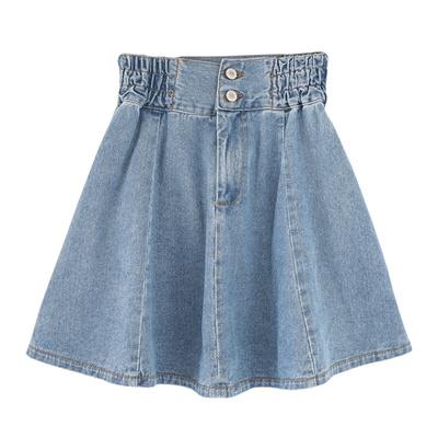 8ed20c372aa50 Elastic waist denim skirt women s skirt plus size high waist pleated skirt