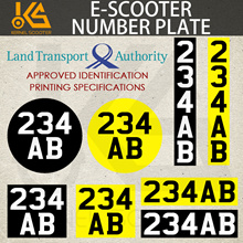 🌟🔢 Escooter Number Plate 🌟 LTA SPECIFICATION ⭐ GERMAN QUALITY STICKER 🔯Identification number🌟