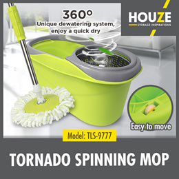 Tornado Spinning Mop / 360 Degree Stainless Steel Basket / 360 Degree Rotating Washable Mop /3 Color