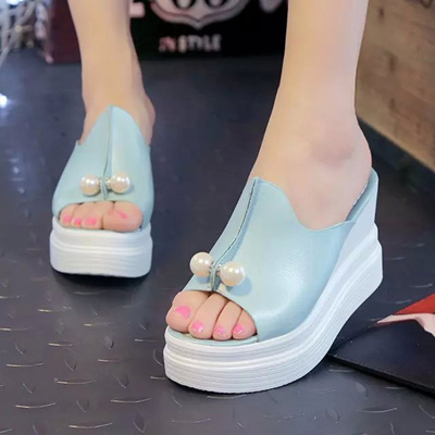 877f4e08f9d online Sexy Women Wedges high Heels Platform Sandals Summer Slippers Thick  Heel Slippers Slides Ladi