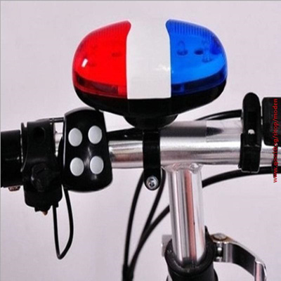 Bicycle LED Light Cycling Bike Horn Bell Loud Siren 4 Sounds Trumpet Cool Safe