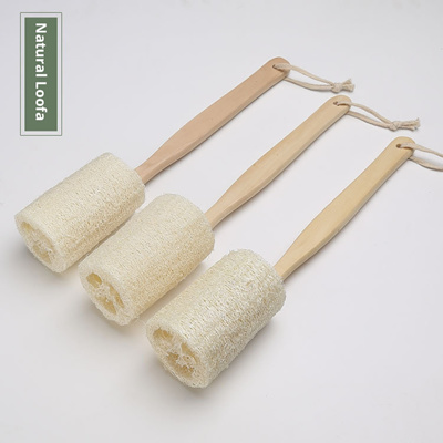 Natural Loofah Back Scrubber Brush Long Wooden Handle Message Bath Shower Products Shower Brush
