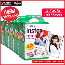 【Fujifilm】** 100 Sheets / 5 Packs **Instax Polaroid Camera films for 7s/8/9/25/50s/90♣ Expiry 2019.8