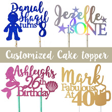 ✪MERRYKNOT✪ Customize Party Cake Topper / Glitter Personalized Topper / Birthday / Wedding
