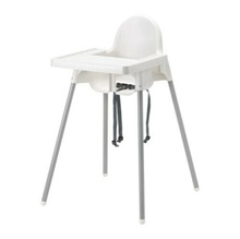 IKEA ANTILOP Kursi makan anak tanpa baki putih warna putih