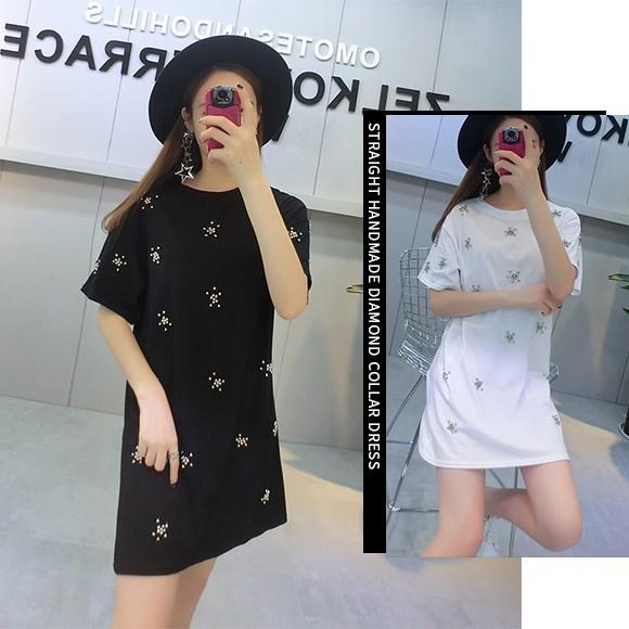 ビジュー Tシャツ ワンピ レディース トップス ワンピース カットソー 半そで ゆったり デカT ブラック ホワイト 韓国ファッション
