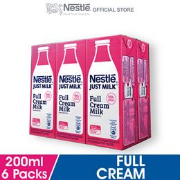 NESTLE Just Milk Full Cream Milk 6 Packs 200ml Each
