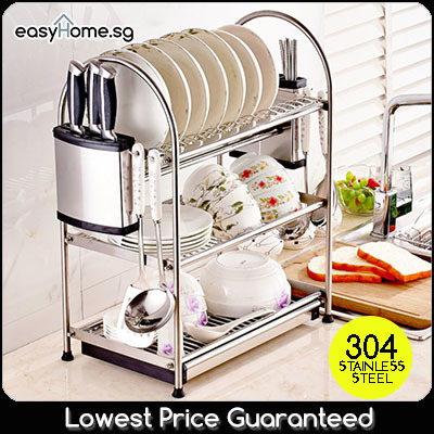 Stainless Steel Dish Rack / Kitchen Shelf / Draining Tray/ Sink Drainer Cutlery Knives