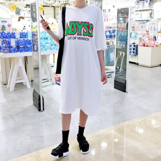 あっかんべーショップオビス開けたことOPS プリントのワンピース/ 韓国ファッション