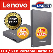LENOVO 2TB External HDD / Built-In USB 3.0 Cable / No Software Installation Needed