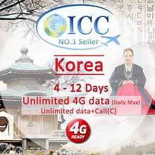 ◆ICC◆【Korea SIM Card·5-12 Days】❤Unlimited 4G/ Unlimited Data + Call* ❤ South Korea