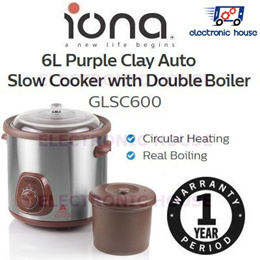 ★ Iona GLSC600 6L Purple Clay Auto Slow Cooker with Double Boiler ★ (1 Year Singapore Warranty)