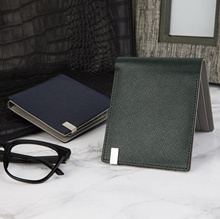 ★[2015 New Arrival]★ Omnia Tie Cowhide Half Wallet For Men Premium Level Luxurious Italian Design in Bag High Quality Authentic Cowhide Leather