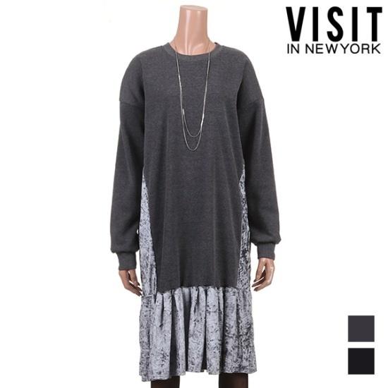 ・ビジット・インニューヨークユニークベルロア配色ワンピースVTJOP16 面ワンピース/ 韓国ファッション