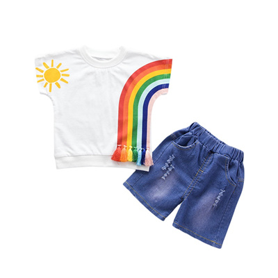 8cf01dd9227da Rainbow Baby Boy Girl Clothing Sets Summer 2018 New Cooton Children Kids  Girls Clothes for boys Sho