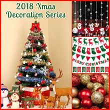 ❆Xmas Decor Series ❆1.5m Christmas Tree Set / Free LED Light /Decors❆Glass Paste/OrnamentsPull Flag