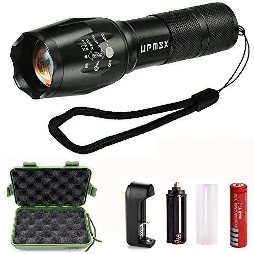 LED Tactical Flashlight,UPMSX 900 Lumen XML T6 Portable Outdoor Water  Resistant Torch with Adjustabl